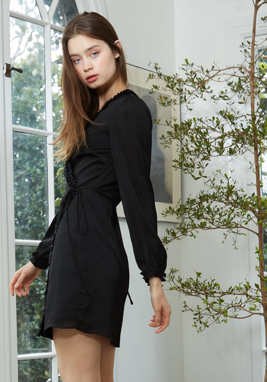 Nurode Ruffle Trim Long Sleeve Wrap Dress