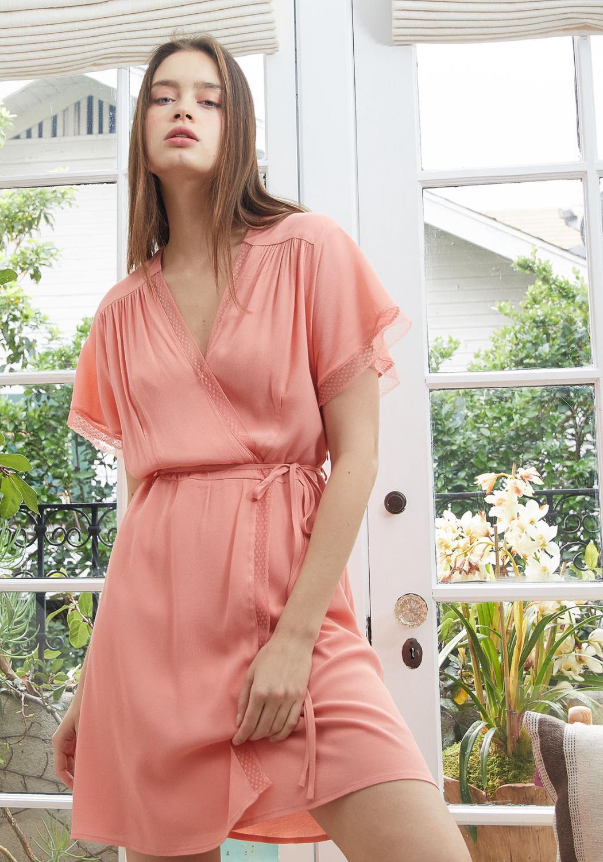 Nurode Lace Trim Cape Sleeve Wrap Dress