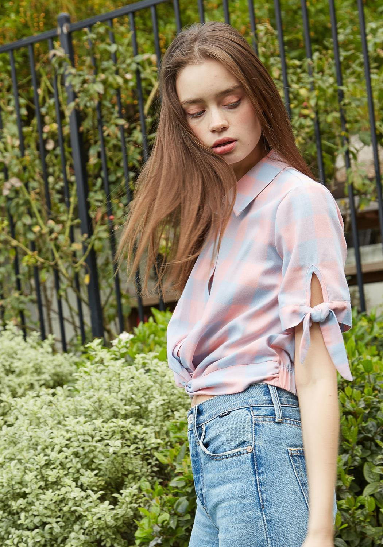 Nurode Plaid Twist Hem Cropped Shirt