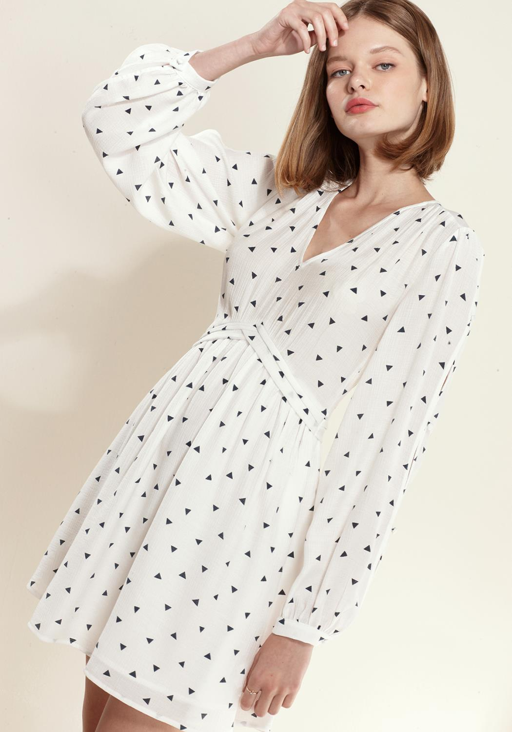 Nurode Triangle Print Long Sleeve V-Neck Dress