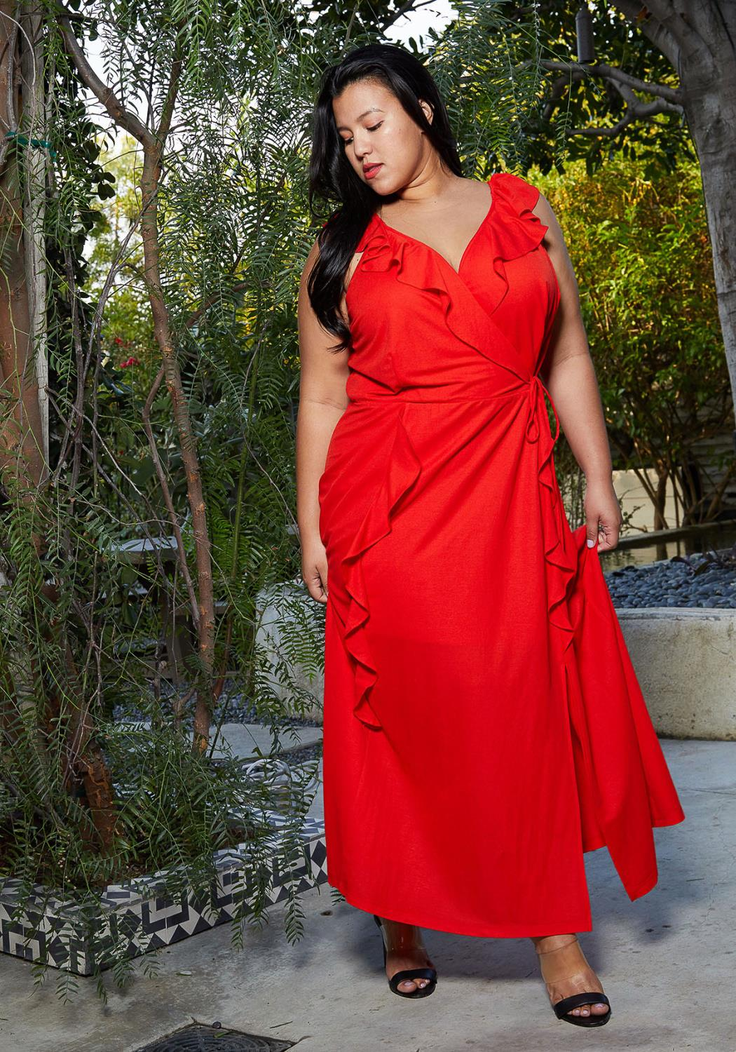 Nurode Plus Size Ruffle Trim Wrapped Maxi Dress
