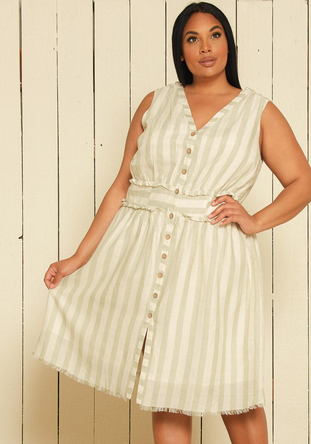 Nurode Plus Size Sleeveless Button Down Stripe Dress