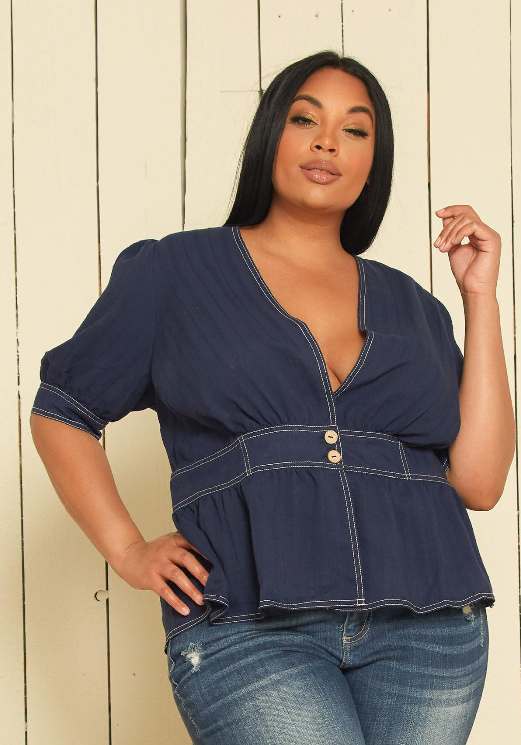 Nurode Plus Size Puff Shoulder Button Front Peplum Top
