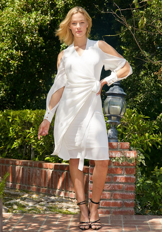 Tansy Pinstripe Wrap Dress