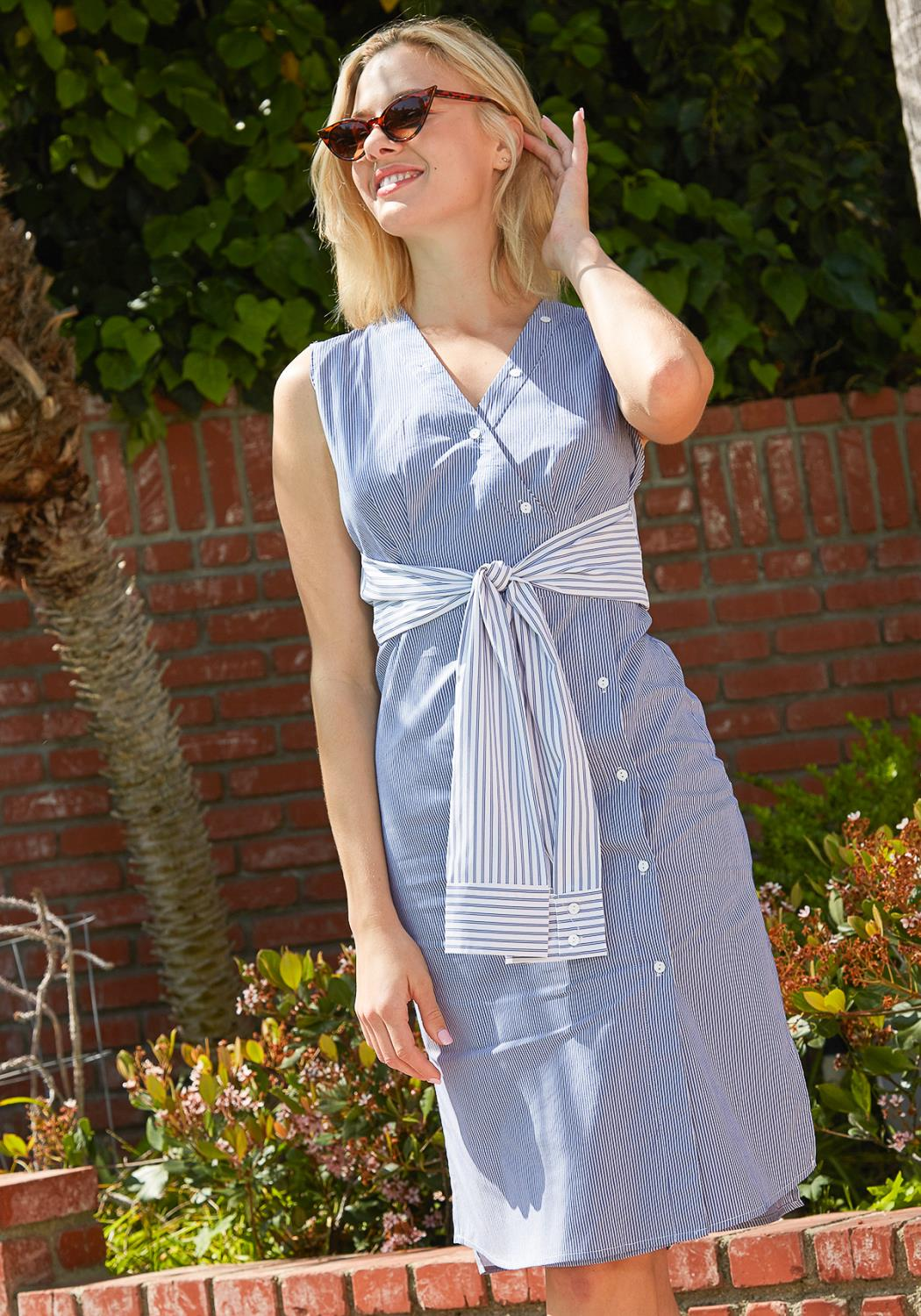Tansy Stripe Button Up Dress