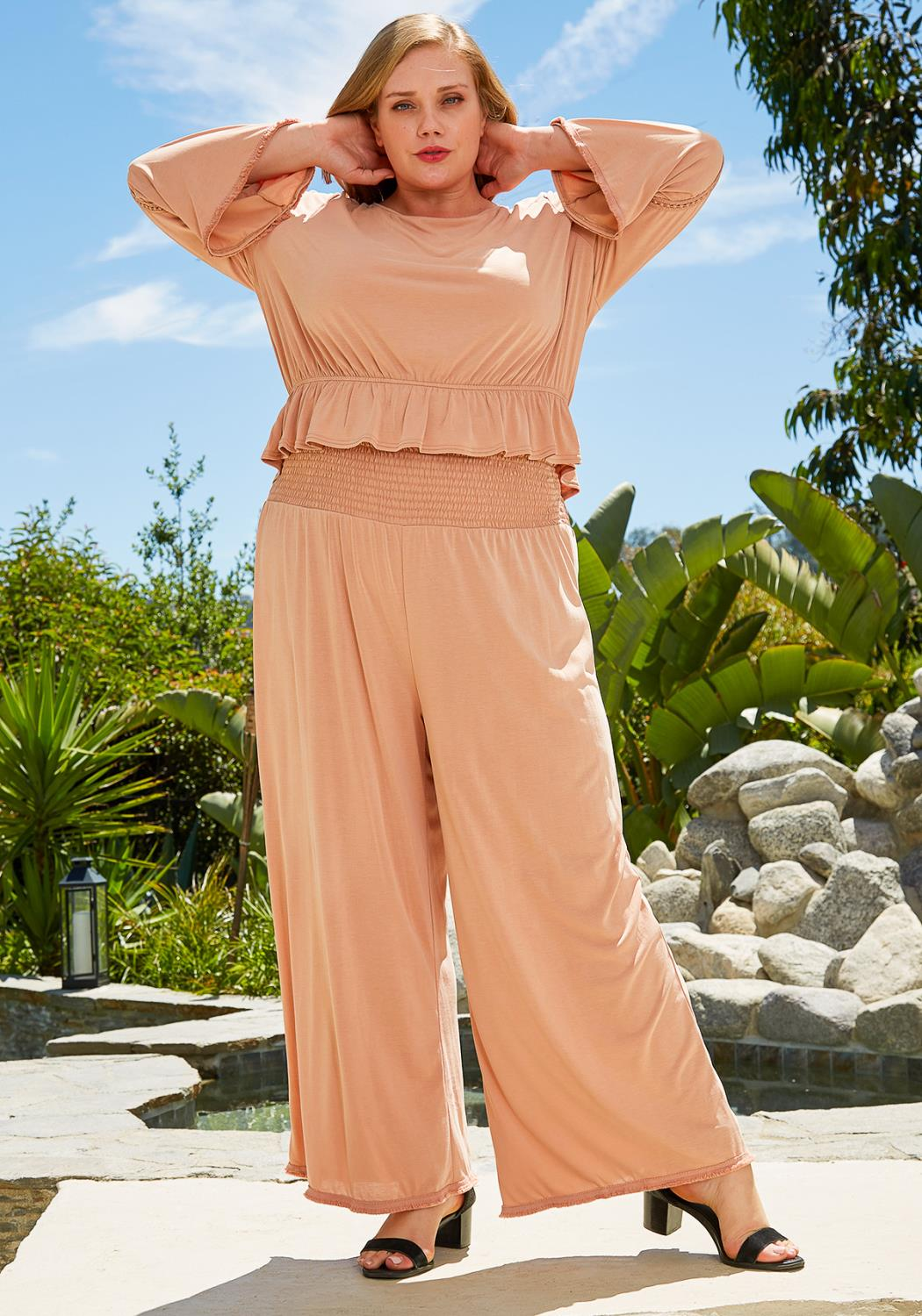 Nurode Plus Size Smocked Waist Wide Leg Palazzo Pants