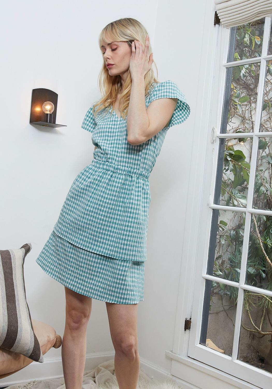 Pleione Puff Shoulder Ruffle Checkered Dress