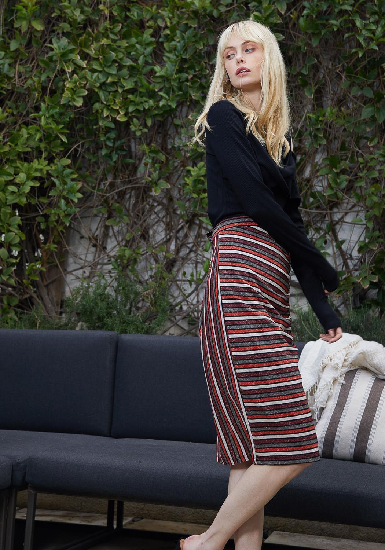 Pleione Gathered Multi Print Midi Skirt