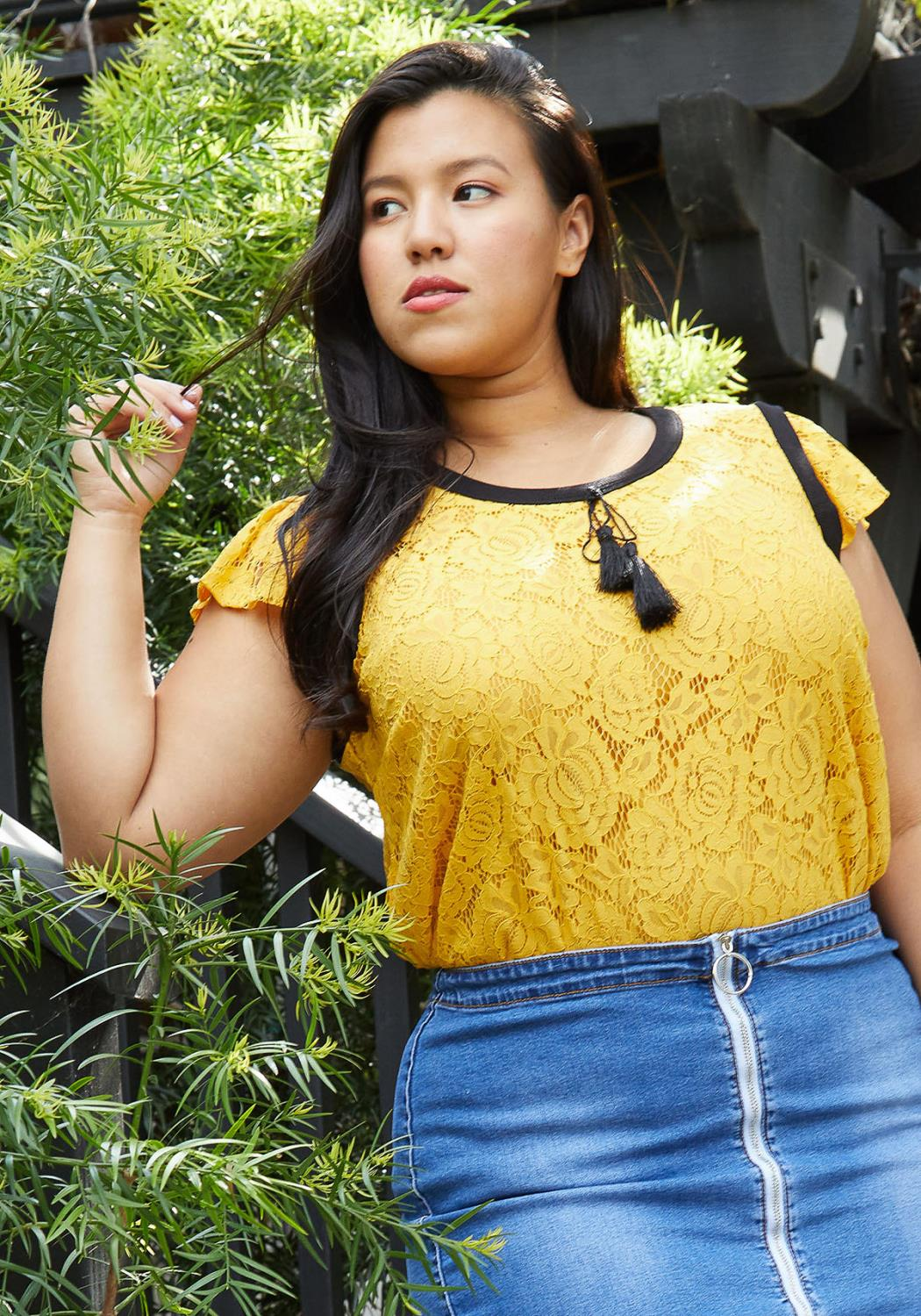 Pleione Plus Size Floral Laced Top