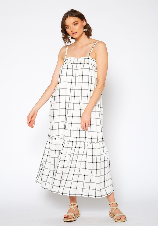 Pleione Grid Print Smocked Maxi Dress