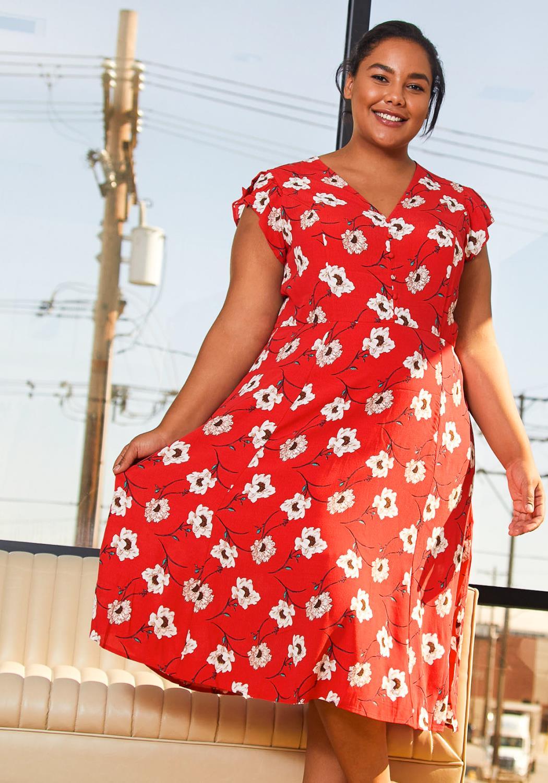 Pleione Plus Size Button Front V-Neck Print Dress