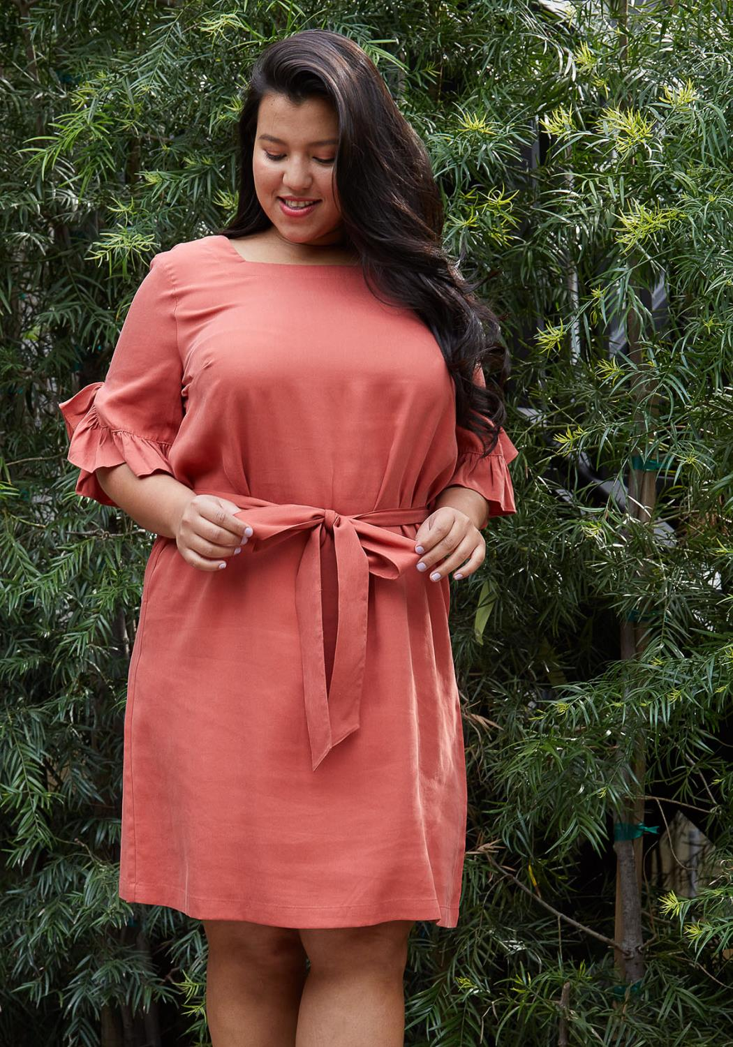 Pleione Plus Size Square Neck Ruffle Sleeve Shift Dress