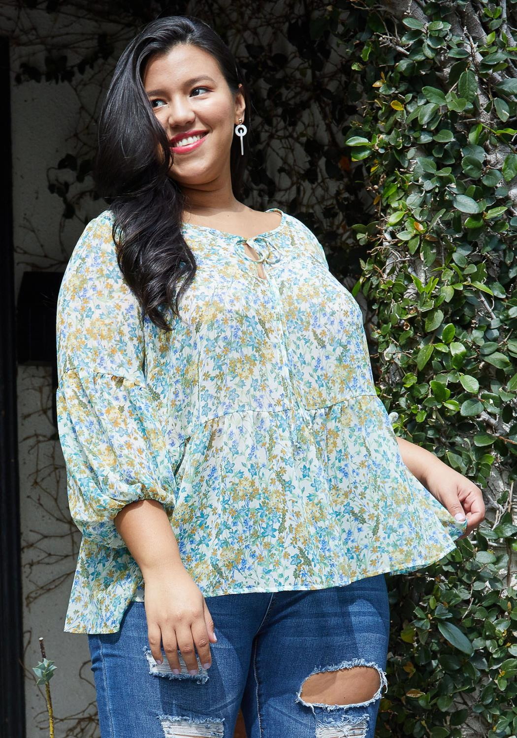 Pleione Plus Size Tie Neck Floral Blouse