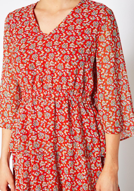 Pleione Floral Layered Ruffle Chiffon Dress