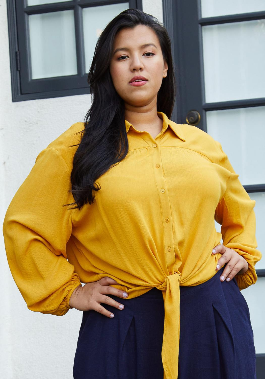 Pleione Plus Size Pleated Tie Hem Button Down Blouse