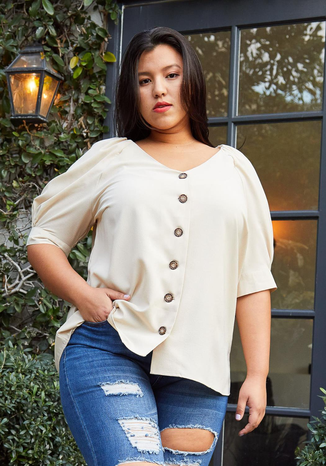 Pleione Plus Size Puff Shoulder Button Down Blouse