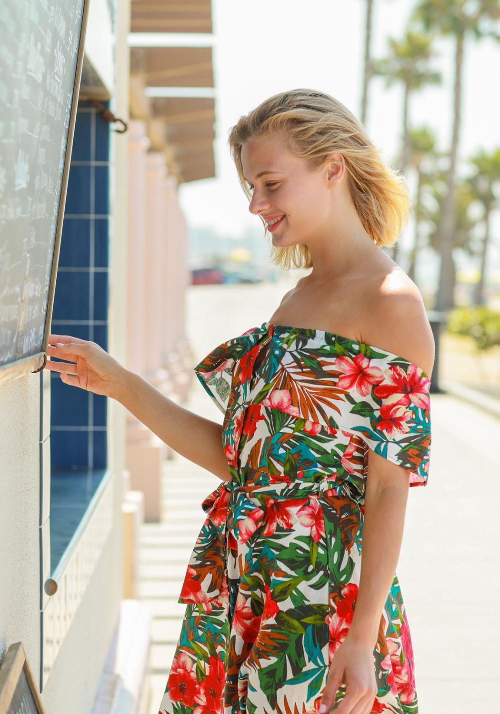 Pleione Tropical Off Shoulder Button Down Dress