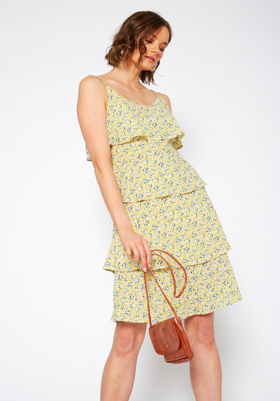 Pleione V-Neck Layered Ruffle Cami Dress