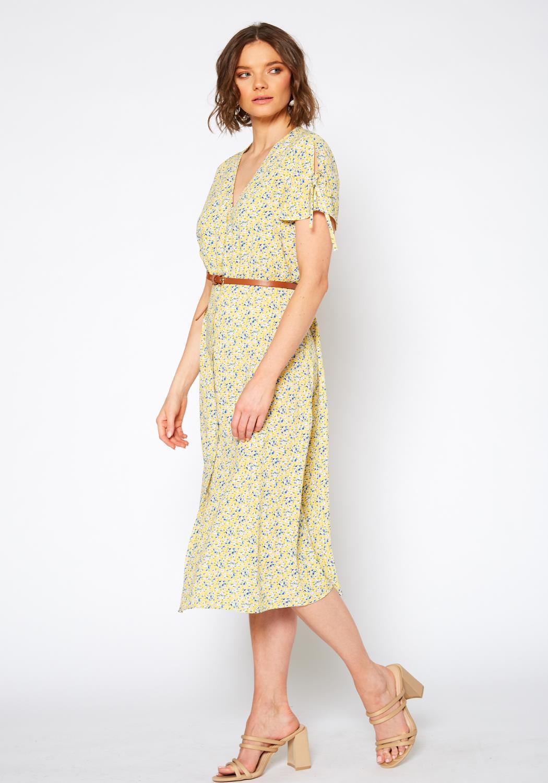 Pleione Button Down Floral V-Neck Maxi Dress