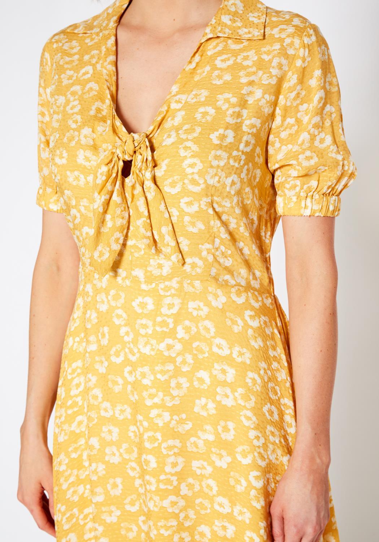 Pleione Tied Open Front Collard Floral Dress