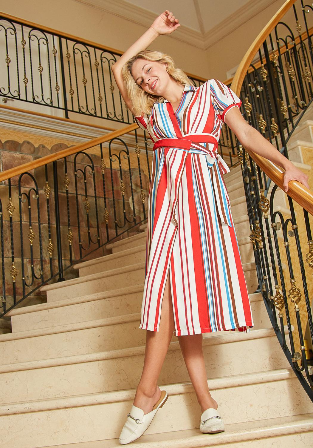 Tansy Stripe Wrap Midi Dress