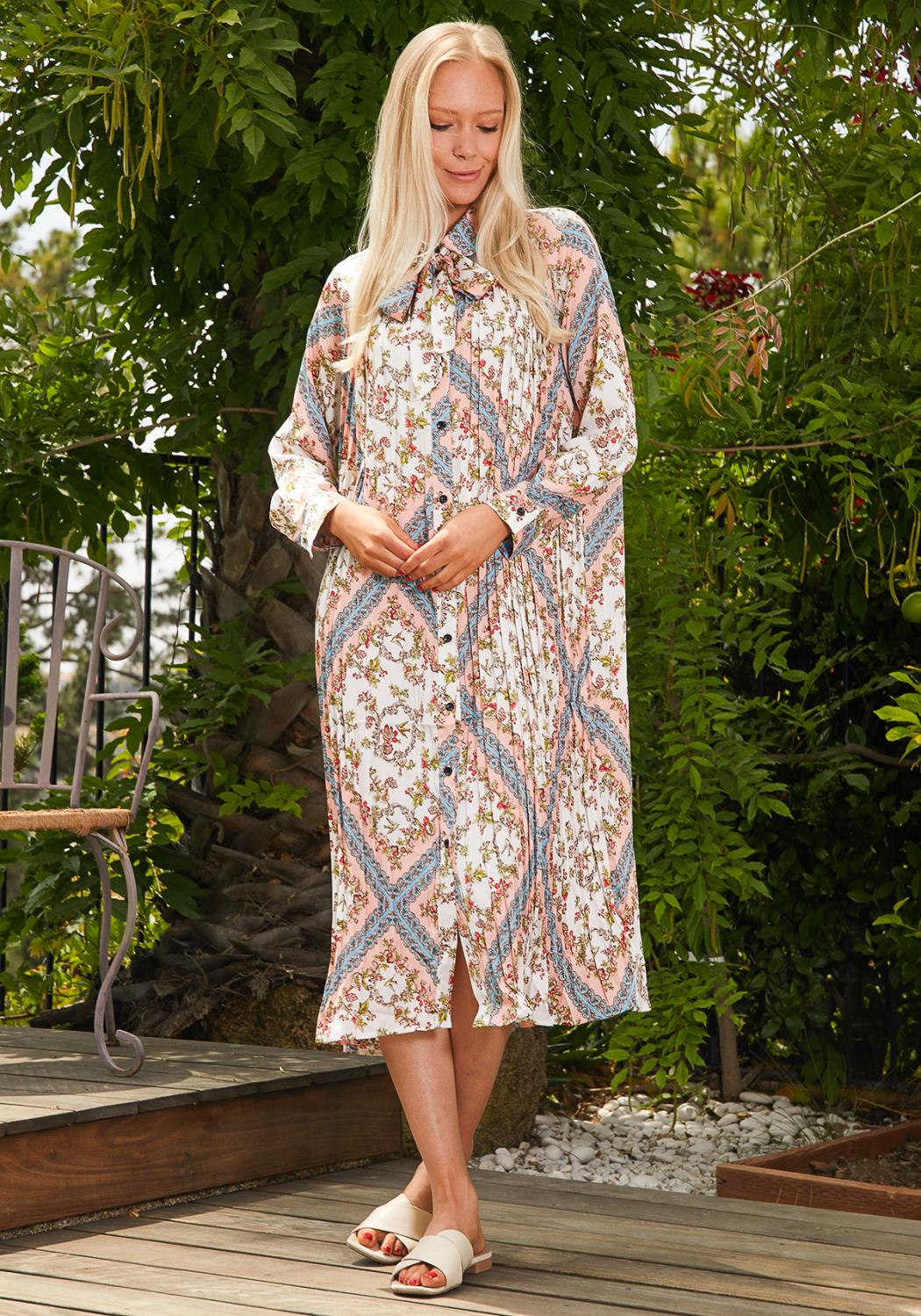 Tansy Multi Print Button Up Tunic Dress