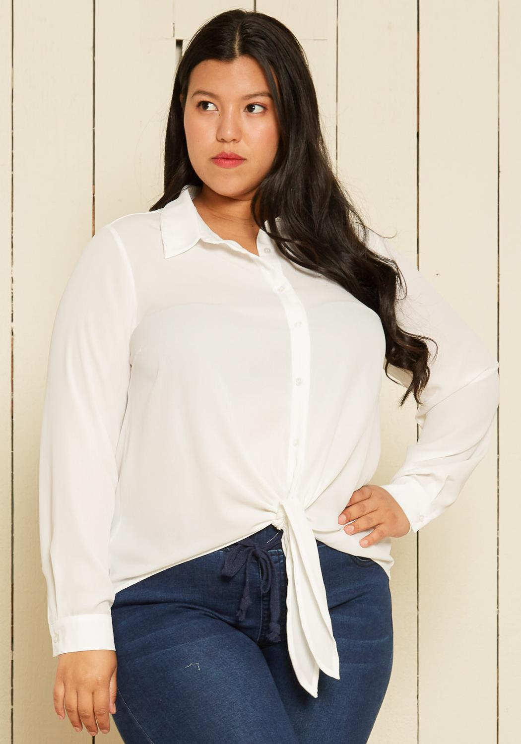 Pleione Plus Size Button Up Blouse