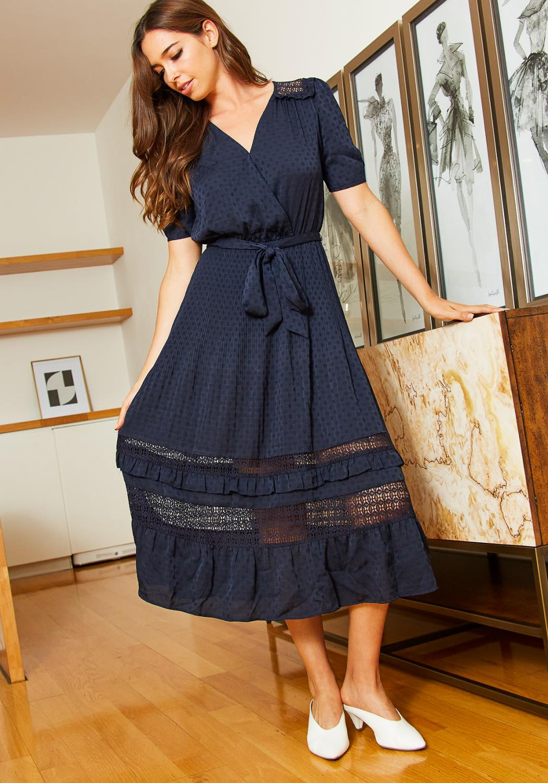 Tansy Womens Polka Dot Flare Midi Dress