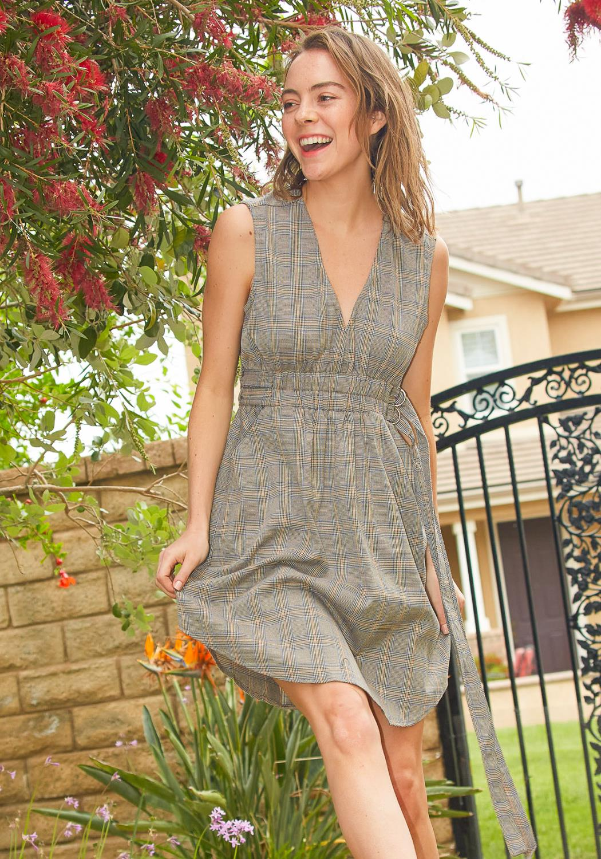 Tansy Plaid Empire Mini Dress