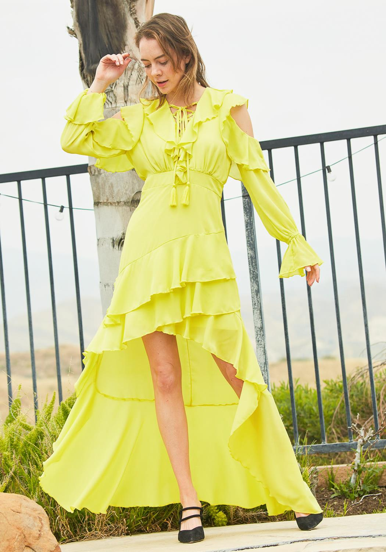 Tansy Ruffle Chiffon Maxi Dress