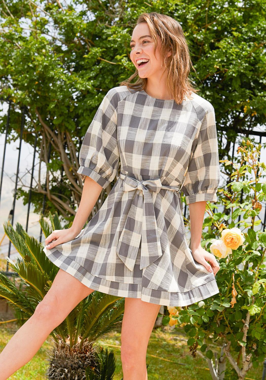 Tansy Plaid Flare Mini Dress