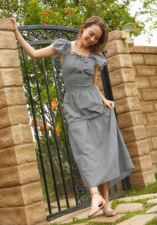 Tansy Smocked Gingham Maxi Dress