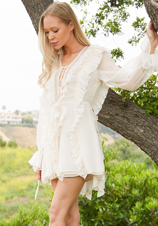 Tansy Ruffle Sheer Dress
