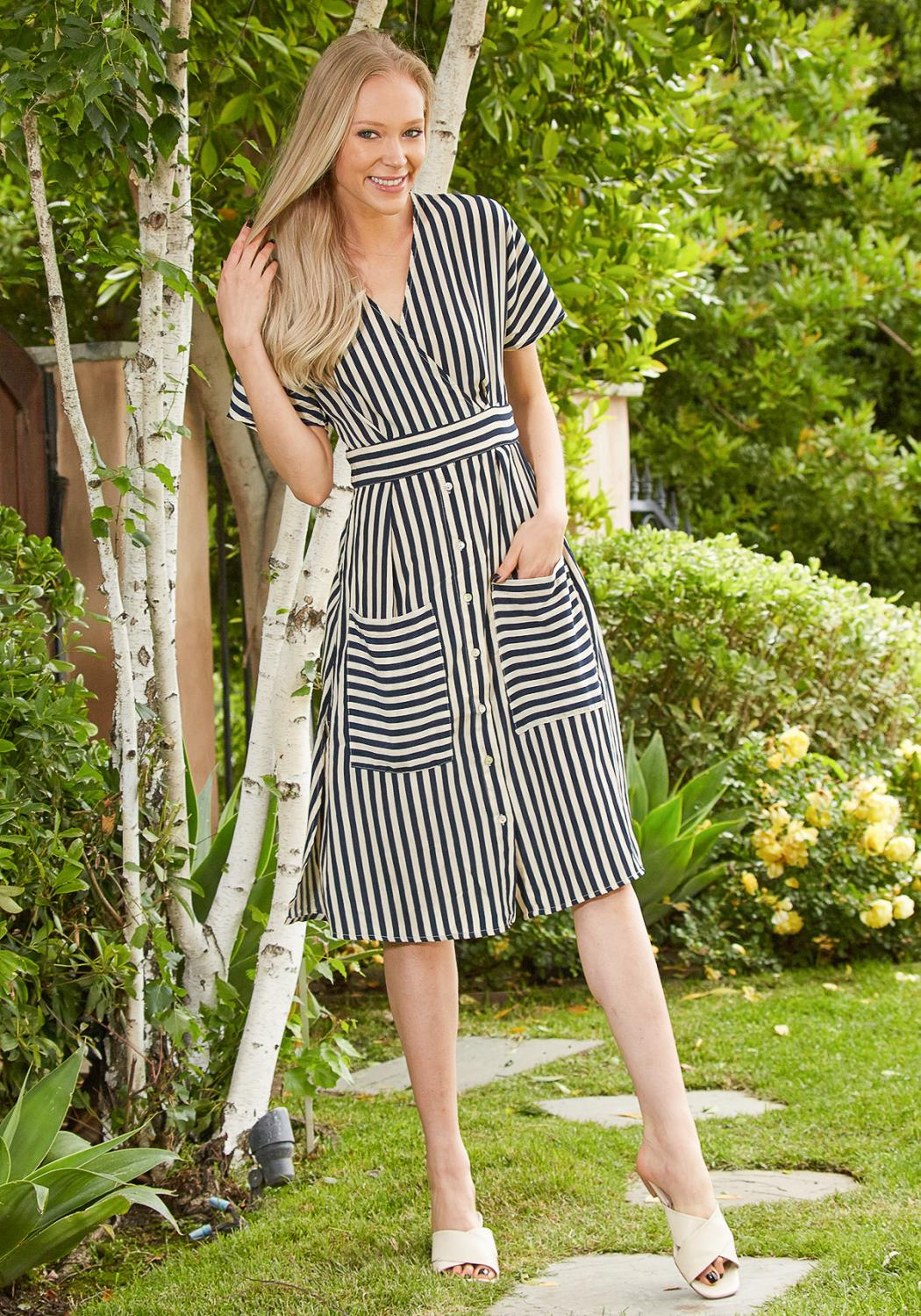 Tansy Stripe Midi Dress
