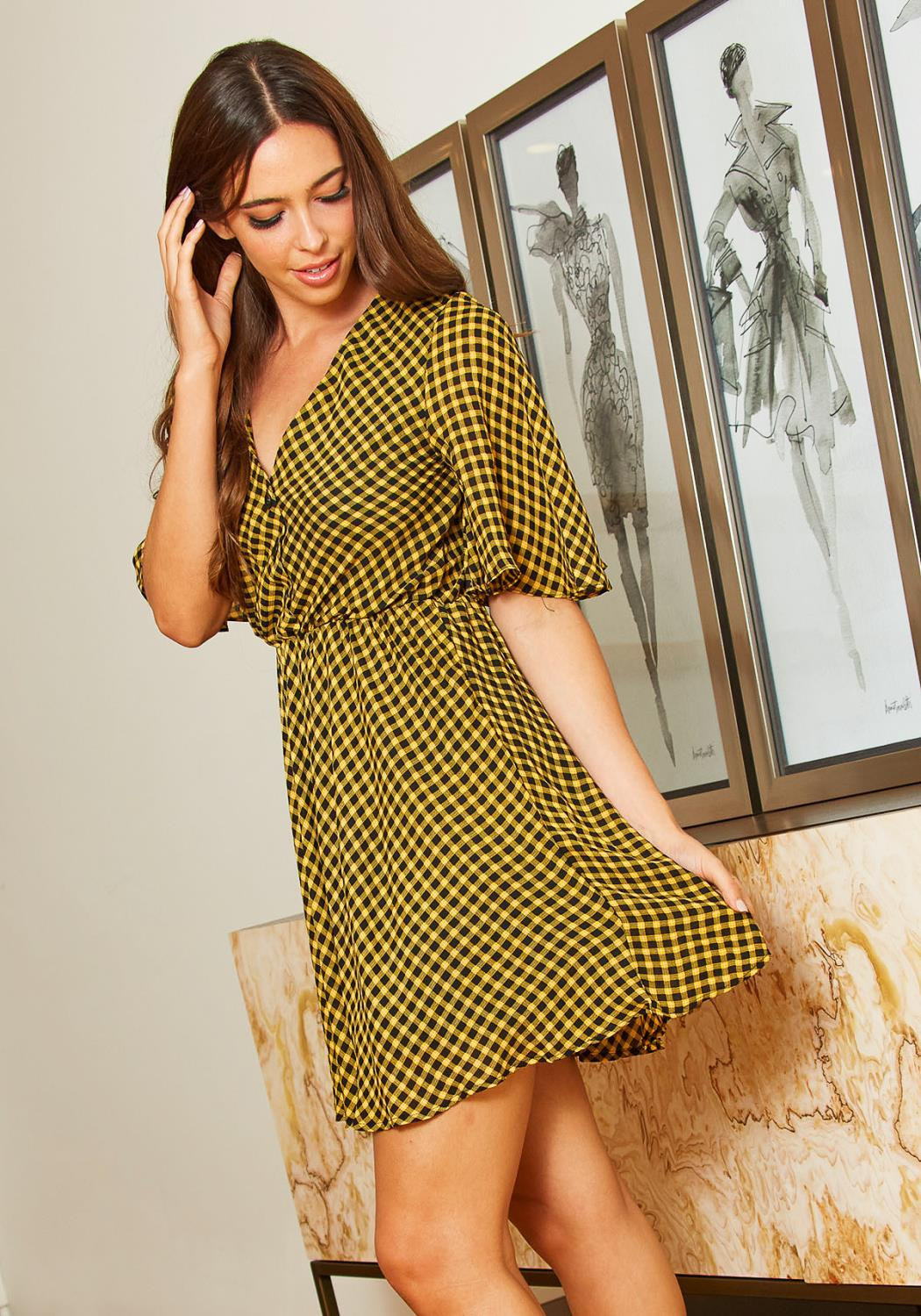 Tansy Womens Yellow Plaid Flare Dress