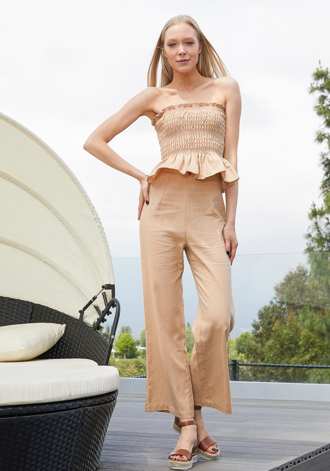 Tansy Cropped Linen Tube Top & Pant Set