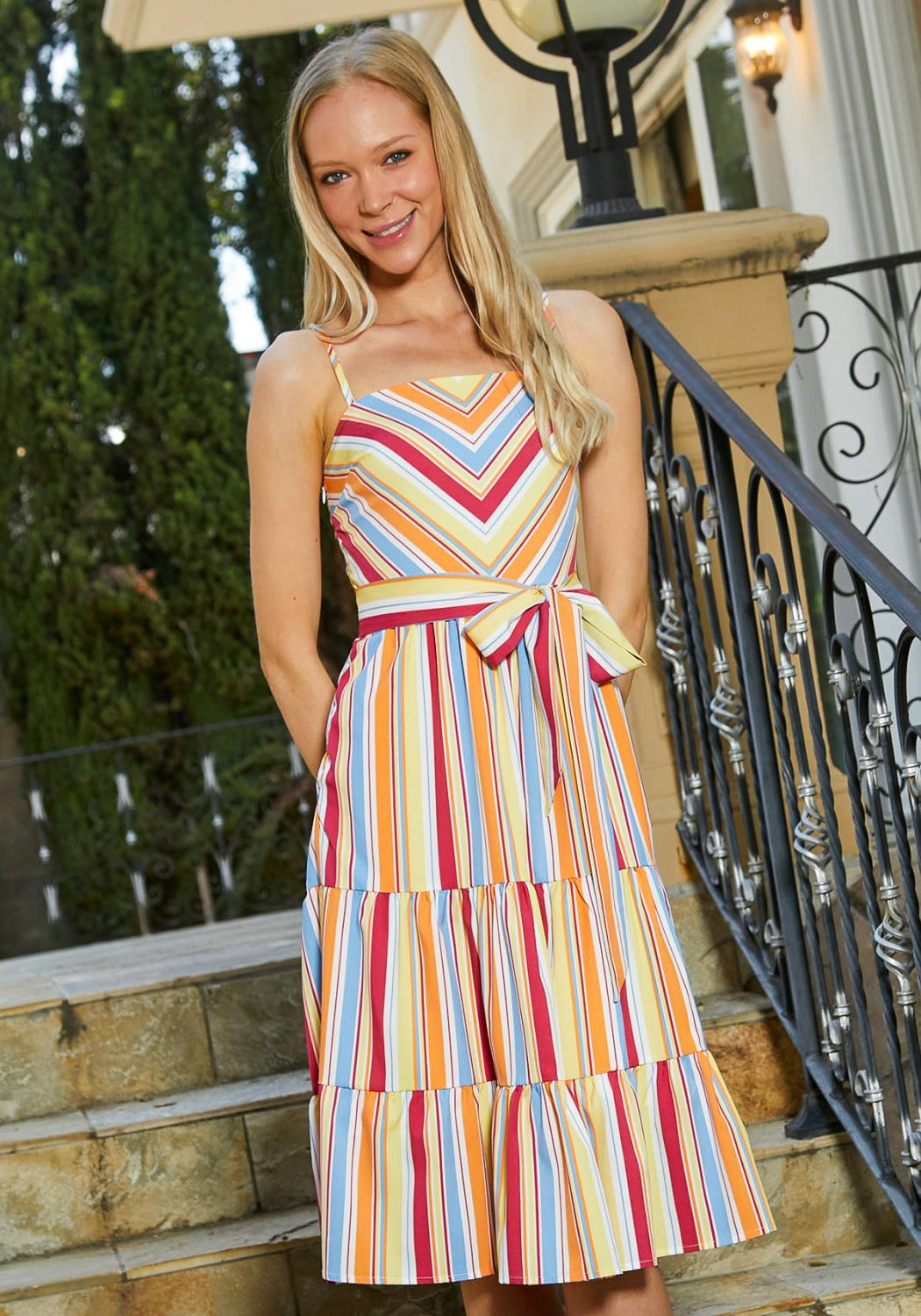 Tansy Tiered Stripe Midi Dress
