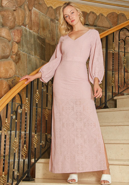 Tansy Geo Textured Maxi Slit Dress