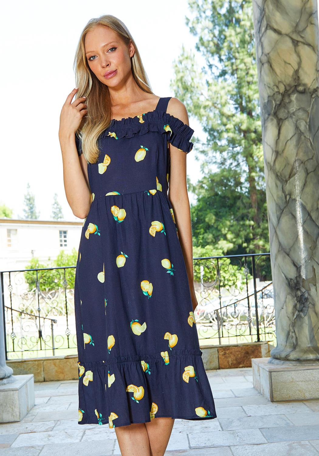 Tansy Lemon Print Off Shoulder Flared Midi Dress