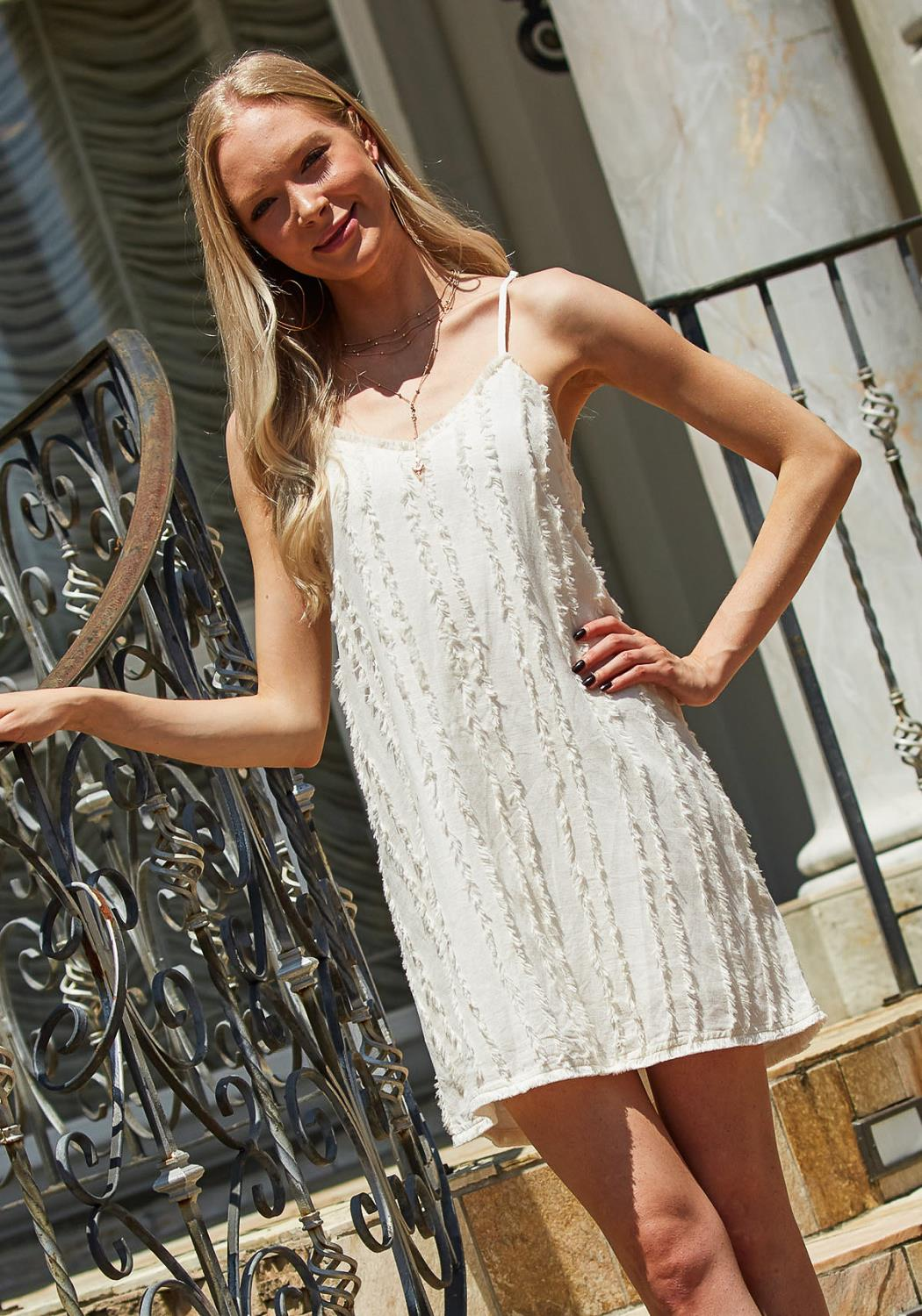 Tansy Fringe Cotton Shift Dress