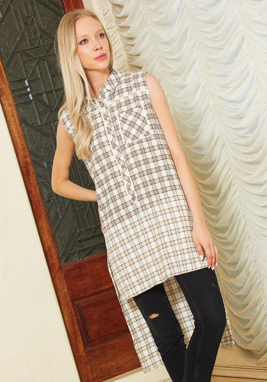 Tansy Plaid Hi Lo sleeveless Shirt