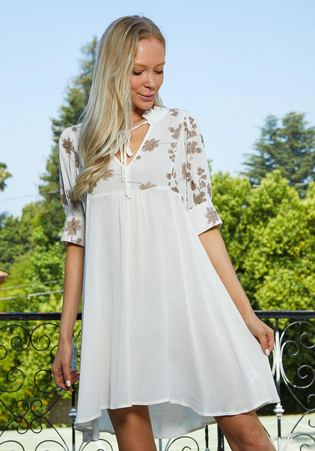 Tansy Flower Embossed Tunic Dress