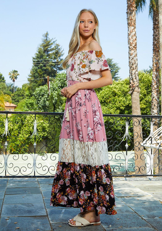 Tansy Multi Print Block Maxi Dress