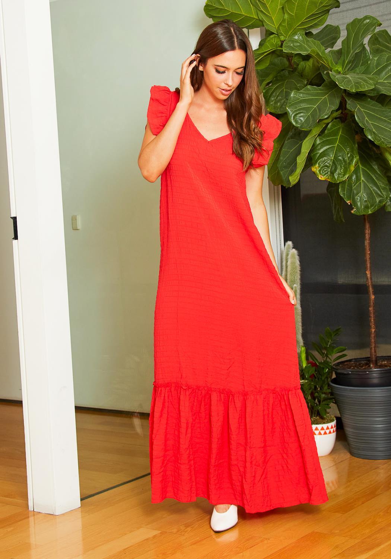 Tansy Womens Ruffled Surplice Maxi Dress