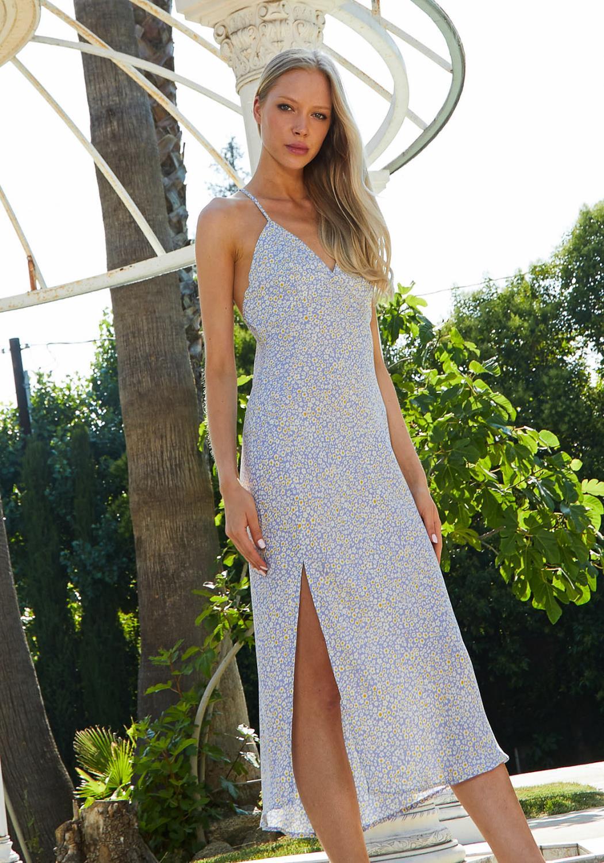 Tansy Ditsy Floral Slit Hem Dress
