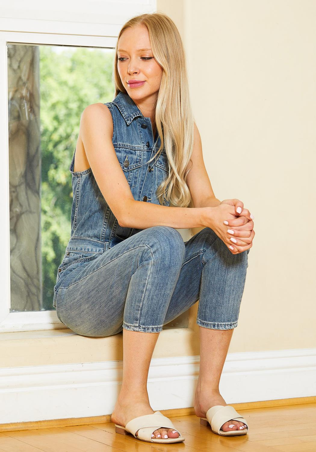 Tansy Denim Button Front Overall Jumpsuit