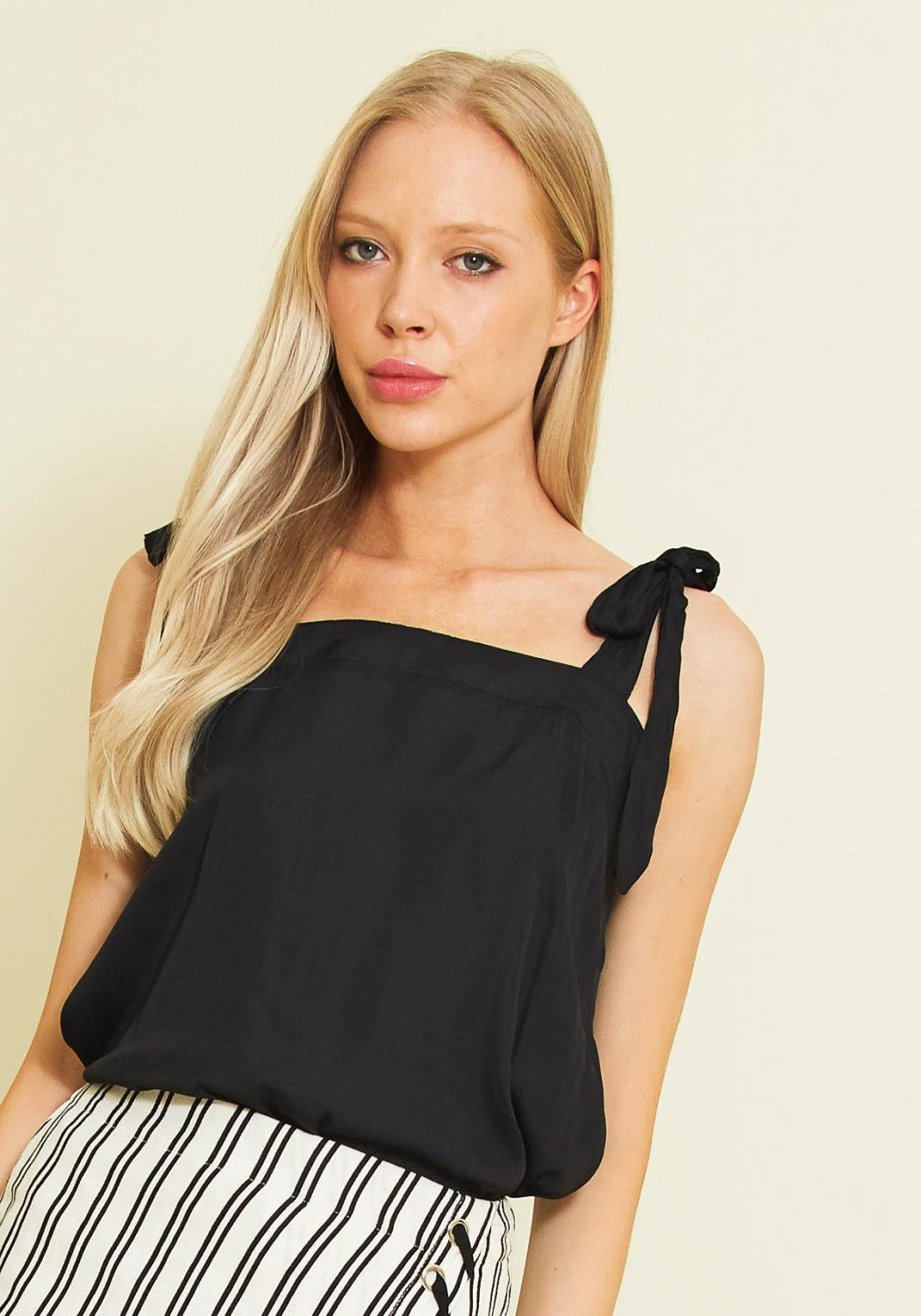 Tansy Simple Back Tie Shoulder Blouse