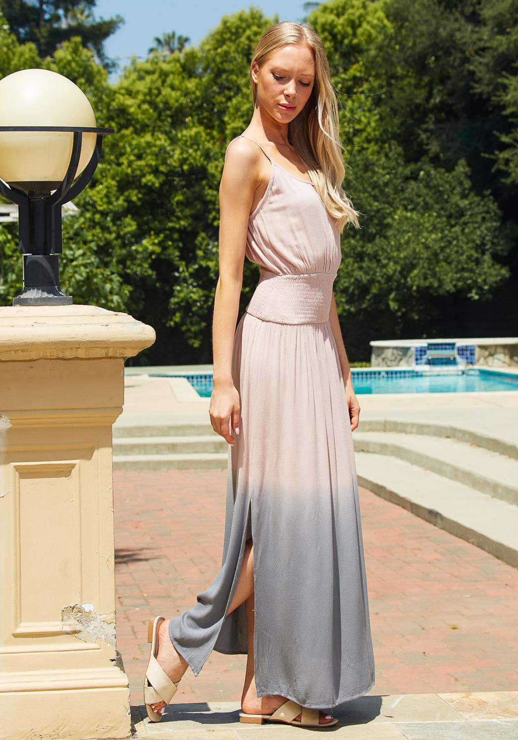 Tansy Color Ombre Maxi Slit Dress