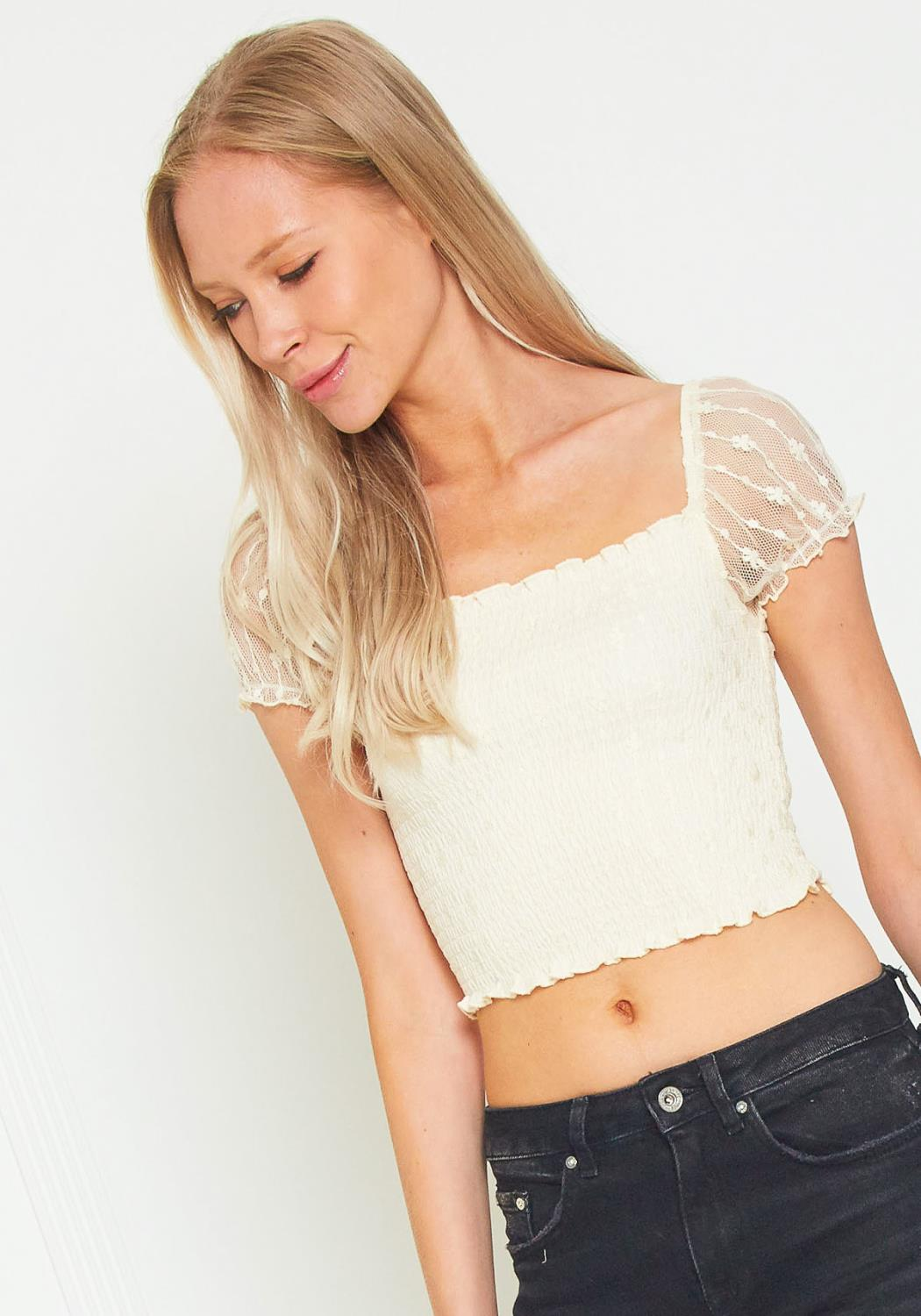 Tansy Smocked Crop Top