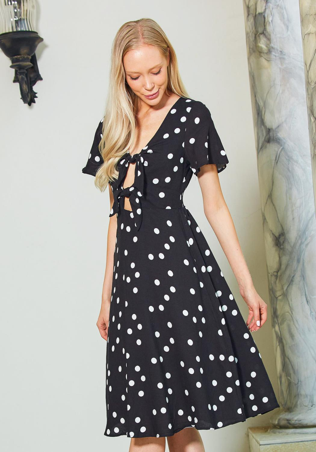 Tandy Polkadot Tie Front Flared Midi Dress